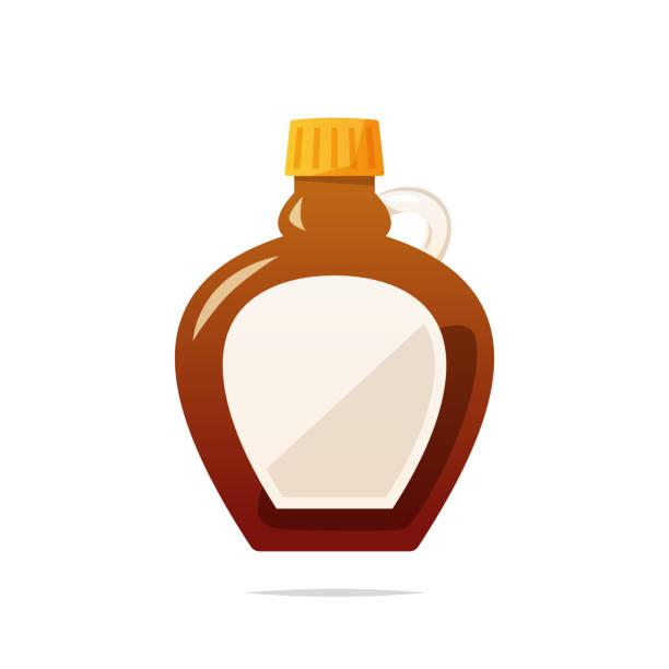 stockillustraties, clipart, cartoons en iconen met maple siroop fles vector geïsoleerd - siroop