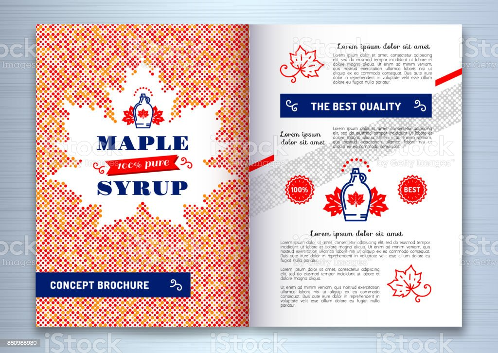 Maple syrup brochure, Flyer template design A4. Canadian food, American traditional products, bottle icon. Maple leaf silhouette of colorful dots, vector illustration Maple syrup brochure, Flyer template design A4. Canadian food, American traditional products, bottle icon. Maple leaf silhouette of colorful dots. Vector illustration Abstract stock vector