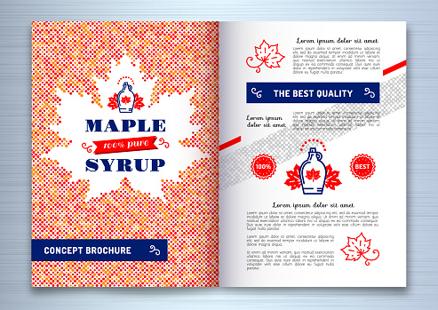 Maple Syrup Brochure Flyer Template Design A4 Canadian Food American Traditional Products Bottle Icon Maple Leaf Silhouette Of Colorful Dots Vector Illustration Stock Illustration - Download Image Now