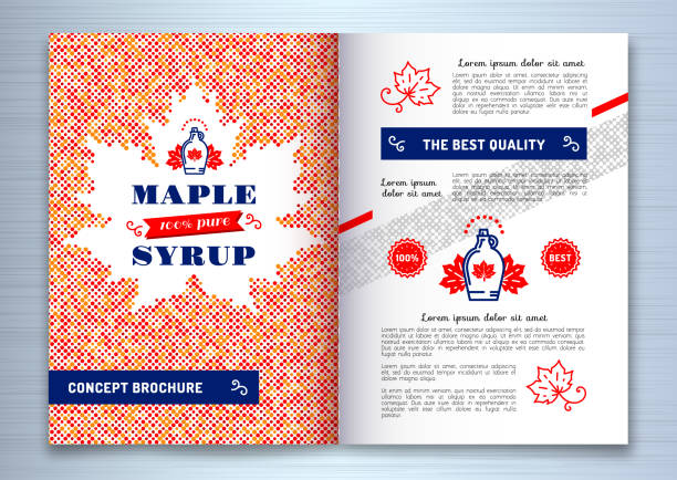 Maple syrup brochure, Flyer template design A4. Canadian food, American traditional products, bottle icon. Maple leaf silhouette of colorful dots, vector illustration Maple syrup brochure, Flyer template design A4. Canadian food, American traditional products, bottle icon. Maple leaf silhouette of colorful dots. Vector illustration maple syrup stock illustrations