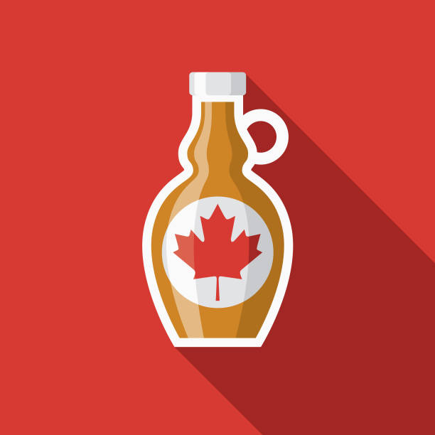 Maple Syrup Flat Design Breakfast Icon A breakfast food and beverage themed icon. File is built in the CMYK color space for optimal printing, and can easily be converted to RGB. Color swatches are global for quick and easy color changes throughout the entire set of icons. maple syrup stock illustrations