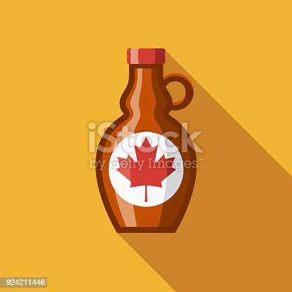 istock Maple Syrup Flat Design Canadian Icon with Side Shadow 924211446