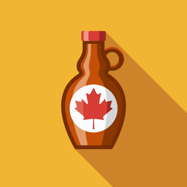 Maple Syrup Flat Design Canadian Icon with Side Shadow A pastel colored flat design Canadian icon with a long side shadow. Color swatches are global so it's easy to edit and change the colors. maple syrup stock illustrations