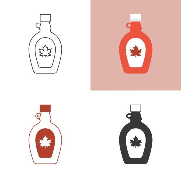 illustrazioni stock, clip art, cartoni animati e icone di tendenza di maple syrup icon set, silhouette, outline and flat icon - sciroppo