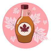 Maple syrup in a glass bottle. In the background is a pink background with maple leaves. Label. Vector illustration.