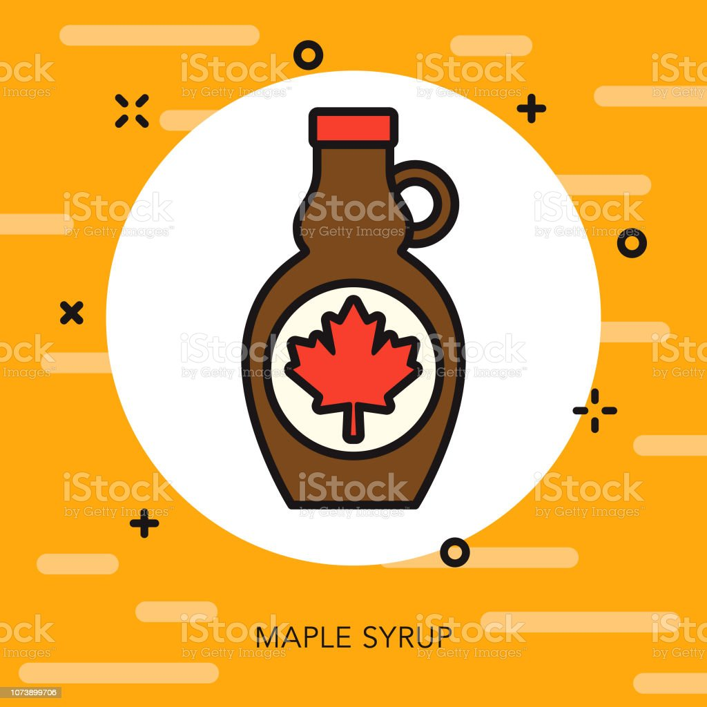 Maple Syrup Thin Line Breakfast Icon A flat design/thin line icon on a colored background. Color swatches are global so it's easy to edit and change the colors. File is built in CMYK for optimal printing and the background is on a separate layer. Breakfast stock vector