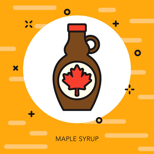 Maple Syrup Thin Line Breakfast Icon A flat design/thin line icon on a colored background. Color swatches are global so it's easy to edit and change the colors. File is built in CMYK for optimal printing and the background is on a separate layer. maple syrup stock illustrations