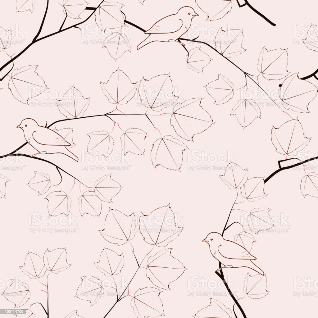 Maple tree branches and birds. Seamless pattern. royalty-free maple tree branches and birds seamless pattern stock vector art & more images of abstract