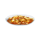 Mapo tofu on plate. Vintage vector hatching color hand drawn illustration isolated on white background