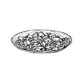 Mapo tofu on plate. Vintage vector hatching black hand drawn illustration isolated on white background