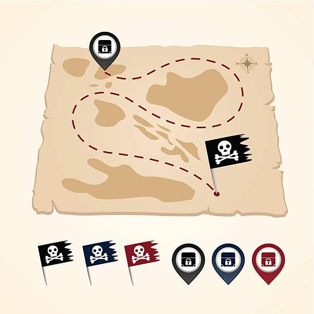 illustrations, cliparts, dessins animés et icônes de mapping pins icône - cartes au trésor