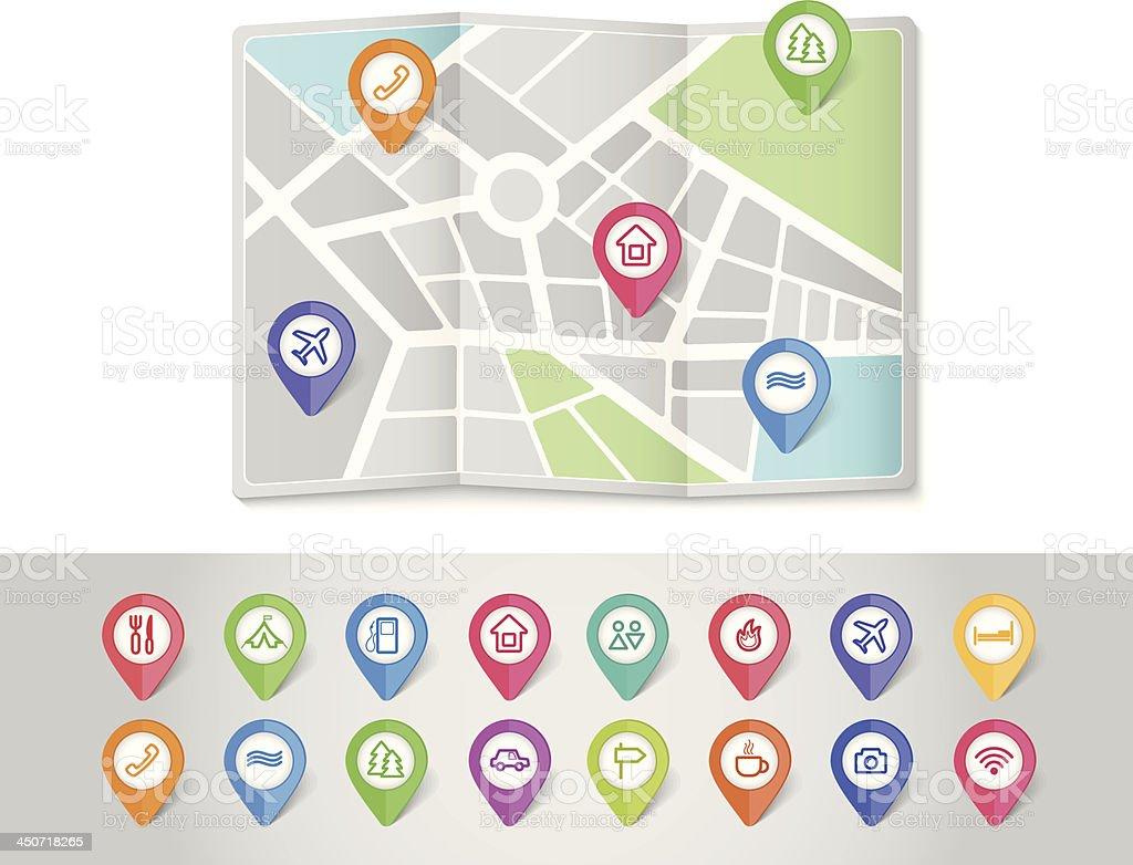 mapping pins icons travel vector art illustration