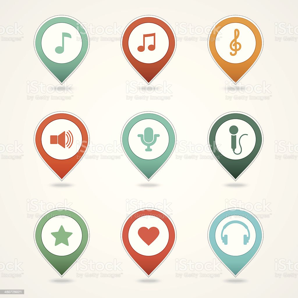 mapping pins icons royalty-free stock vector art