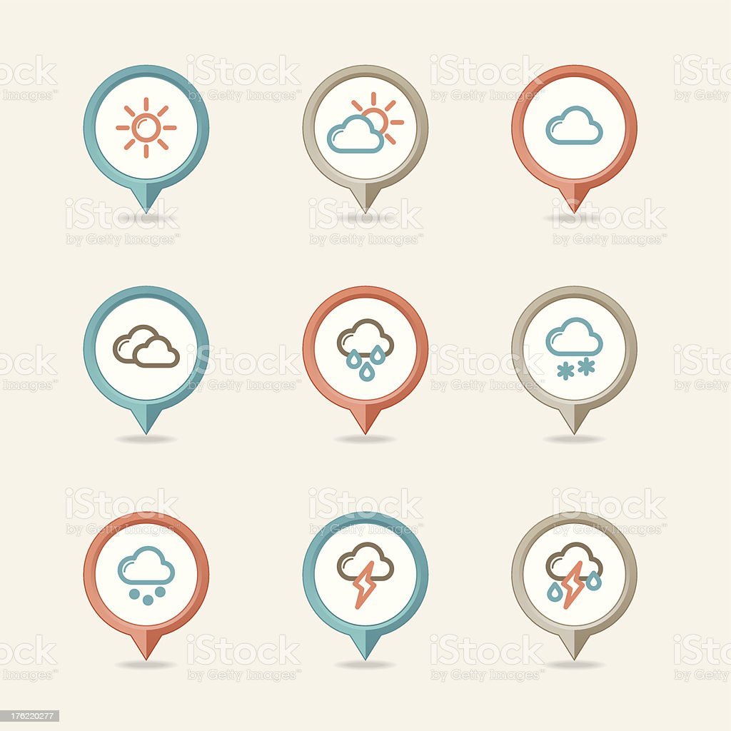 mapping pins icons weather royalty-free stock vector art