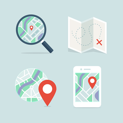 Maps and navigation detailed full-color vector icon set