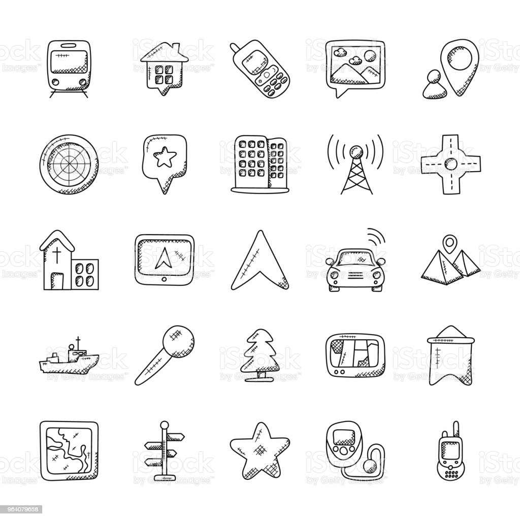 Maps  And Navigation Doodle Icon Set - Royalty-free Air Vehicle stock vector