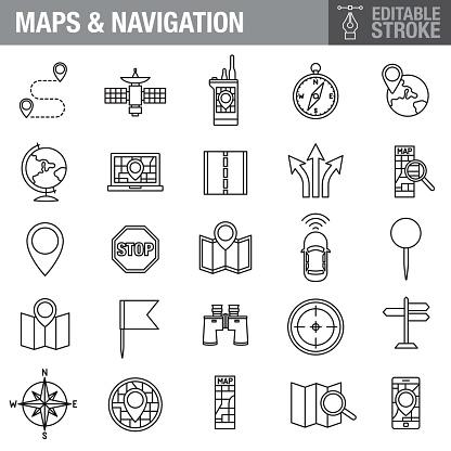 Maps and Navigation Editable Stroke Icon Set