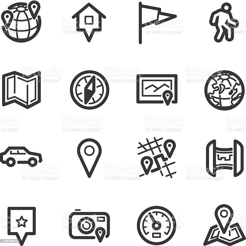 Maps and navigation icons – Bazza series vector art illustration