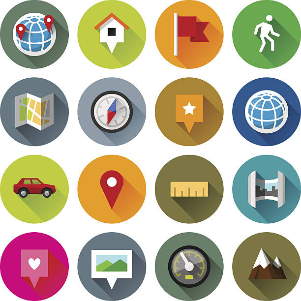 Maps and navigation icons – Fllate series vector art illustration