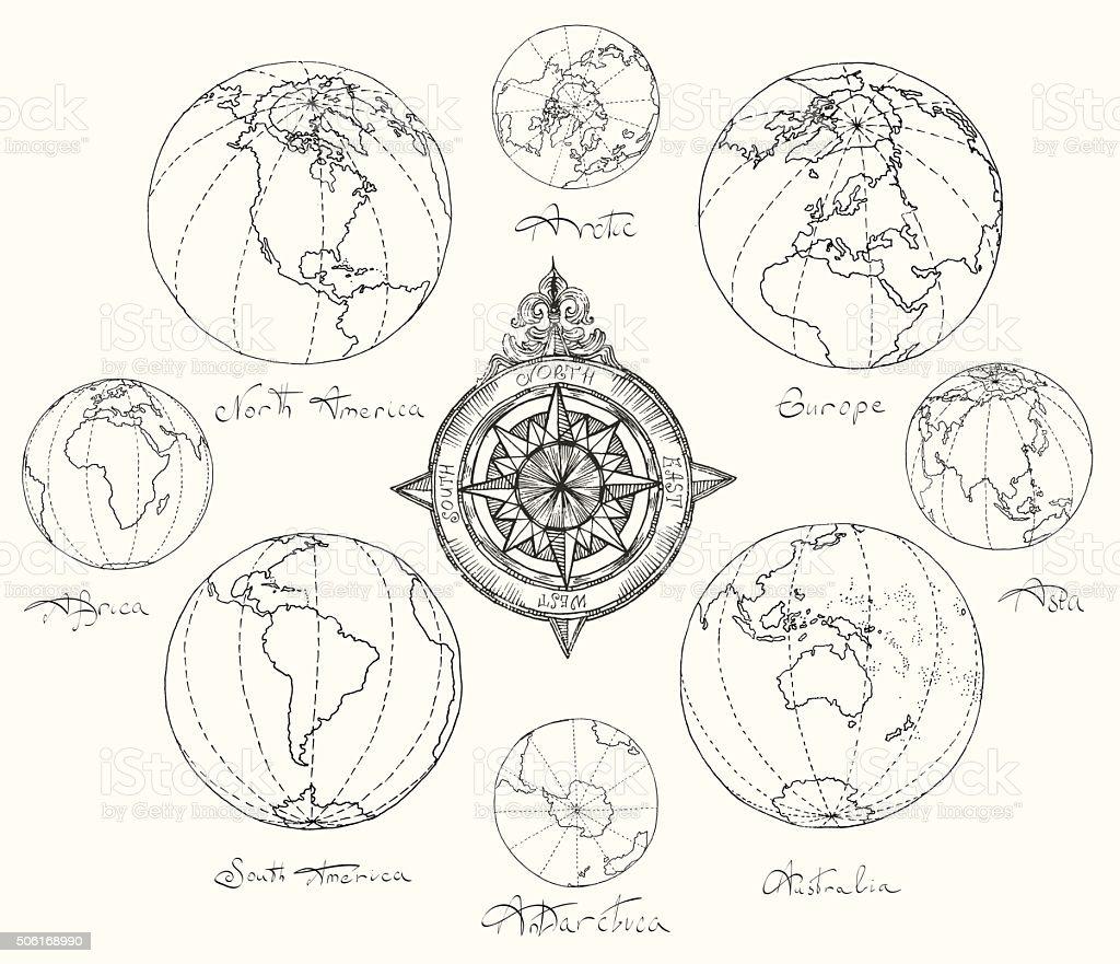 Mapas atlas continentes. - ilustración de arte vectorial