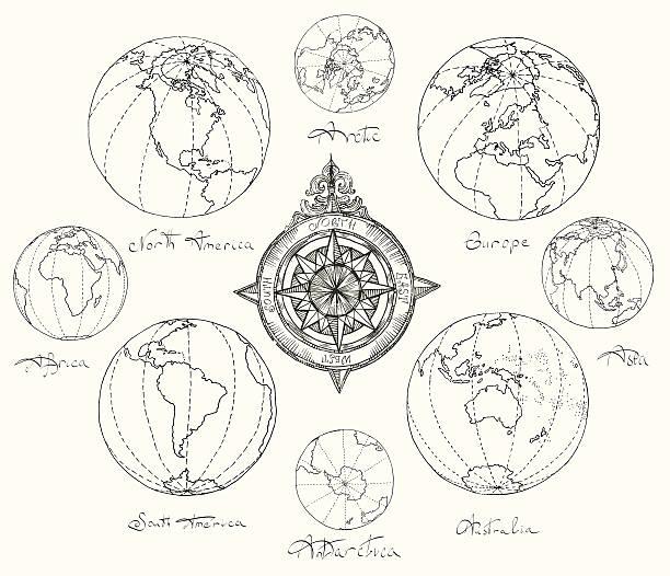 ilustraciones, imágenes clip art, dibujos animados e iconos de stock de mapas atlas continentes. - mapa de antártida