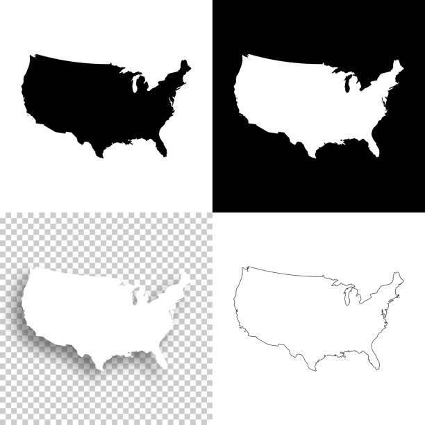 미국 지도 디자인-빈, 백색과 검정에 대 한 배경 - 지도 실루엣 stock illustrations