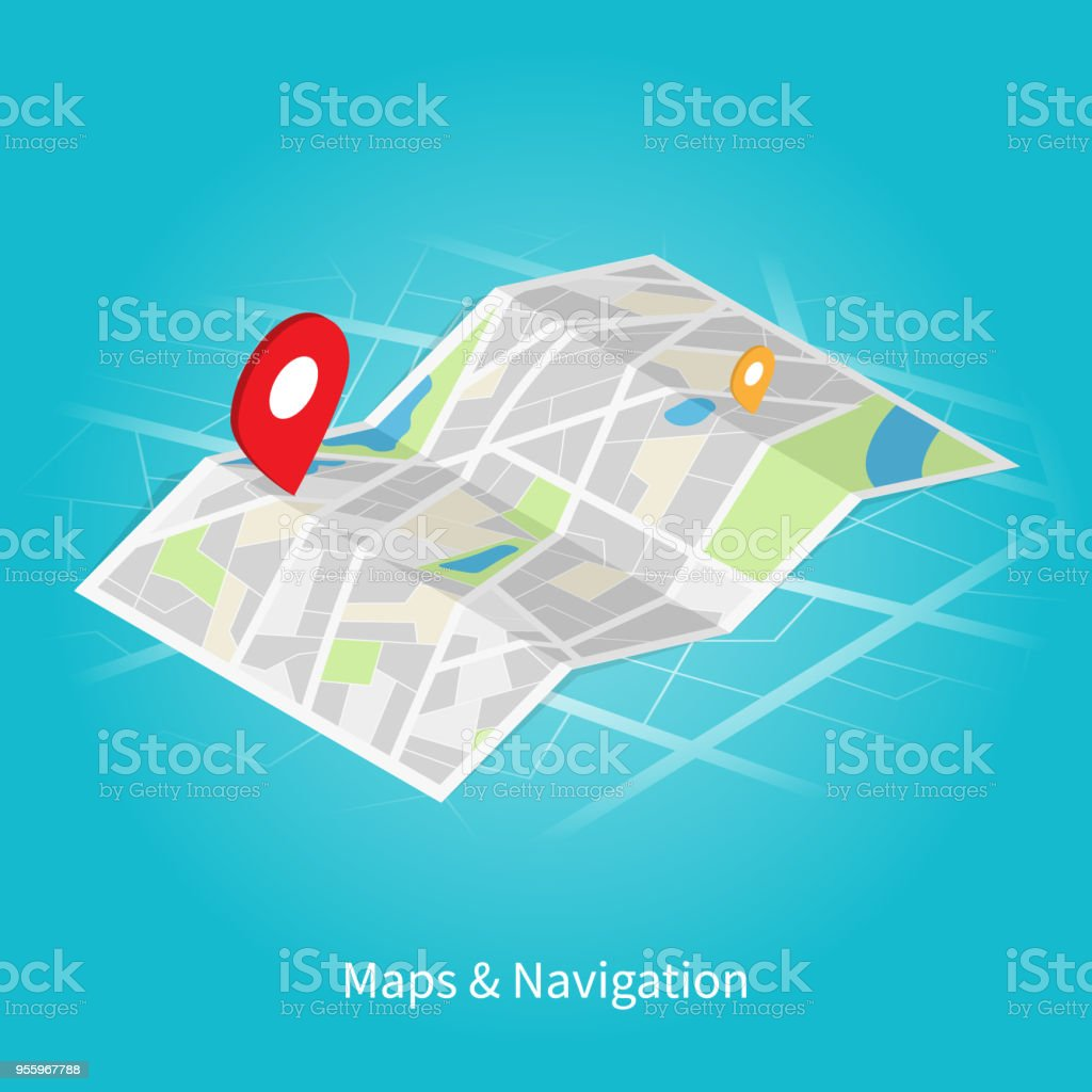 Maps Navigation Isometric Vector Stock Illustration ... on maps for orienteering, maps for ships, maps for gps,