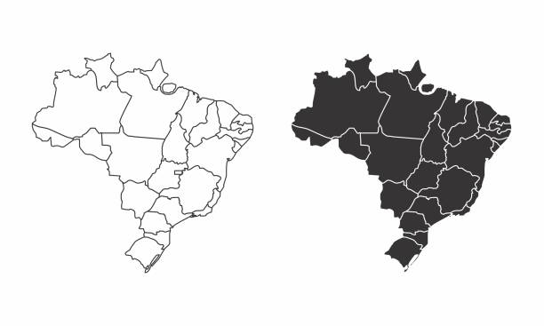 maps of brazil - mapa stock illustrations