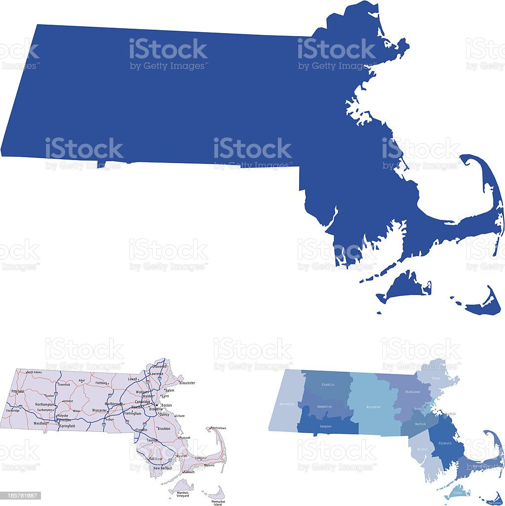 3 maps of Massachusetts on a white background vector art illustration