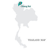 istock Maps of Thailand with blue maps pin on Chiang Rai Province 1316814497
