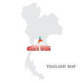 istock Maps of Thailand with blue maps pin on Chonburi Province 1314570590