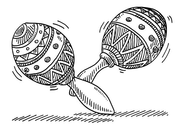 Maracas Carnival Music Instrument Drawing Hand-drawn vector drawing of Maracas, Music Instrument for Carnival Celebration. Black-and-White sketch on a transparent background (.eps-file). Included files are EPS (v10) and Hi-Res JPG. celebration stock illustrations