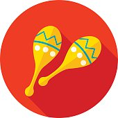 Maracas flat icon with long shadow, eps 10