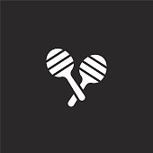 maracas icon. Filled maracas icon for website design and mobile, app development. maracas icon from filled party collection isolated on black background.
