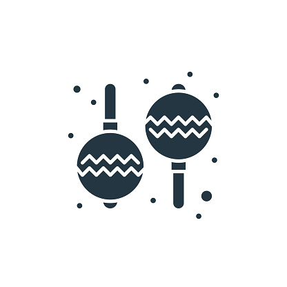 maracas icon. Glyph maracas icon for website design and mobile, app development, print. maracas icon from filled brazilian carnival collection isolated on white background..