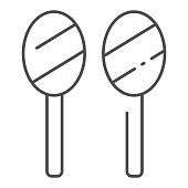 Maracas thin line icon. Latin maraca instrument vector illustration isolated on white. Musical instrument outline style design, designed for web and app. Eps 10.