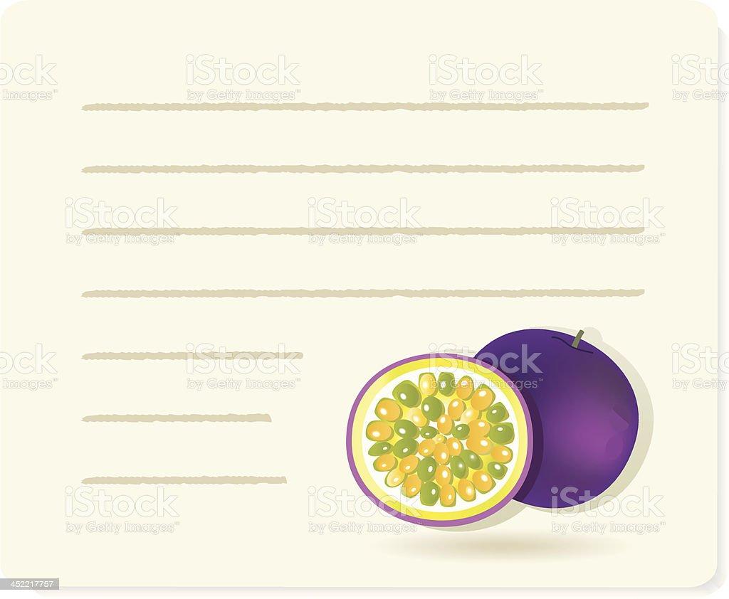 Maracuja with recipepaper. royalty-free stock vector art