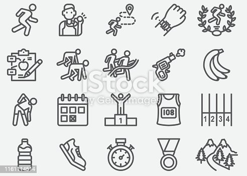 Marathon And Road Running Line Icons
