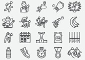 Marathon And Road Running Line Icons
