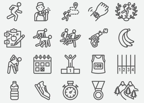 bildbanksillustrationer, clip art samt tecknat material och ikoner med maraton och road running line ikoner - jogging hill