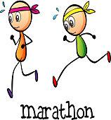 Marathon between two stickmen