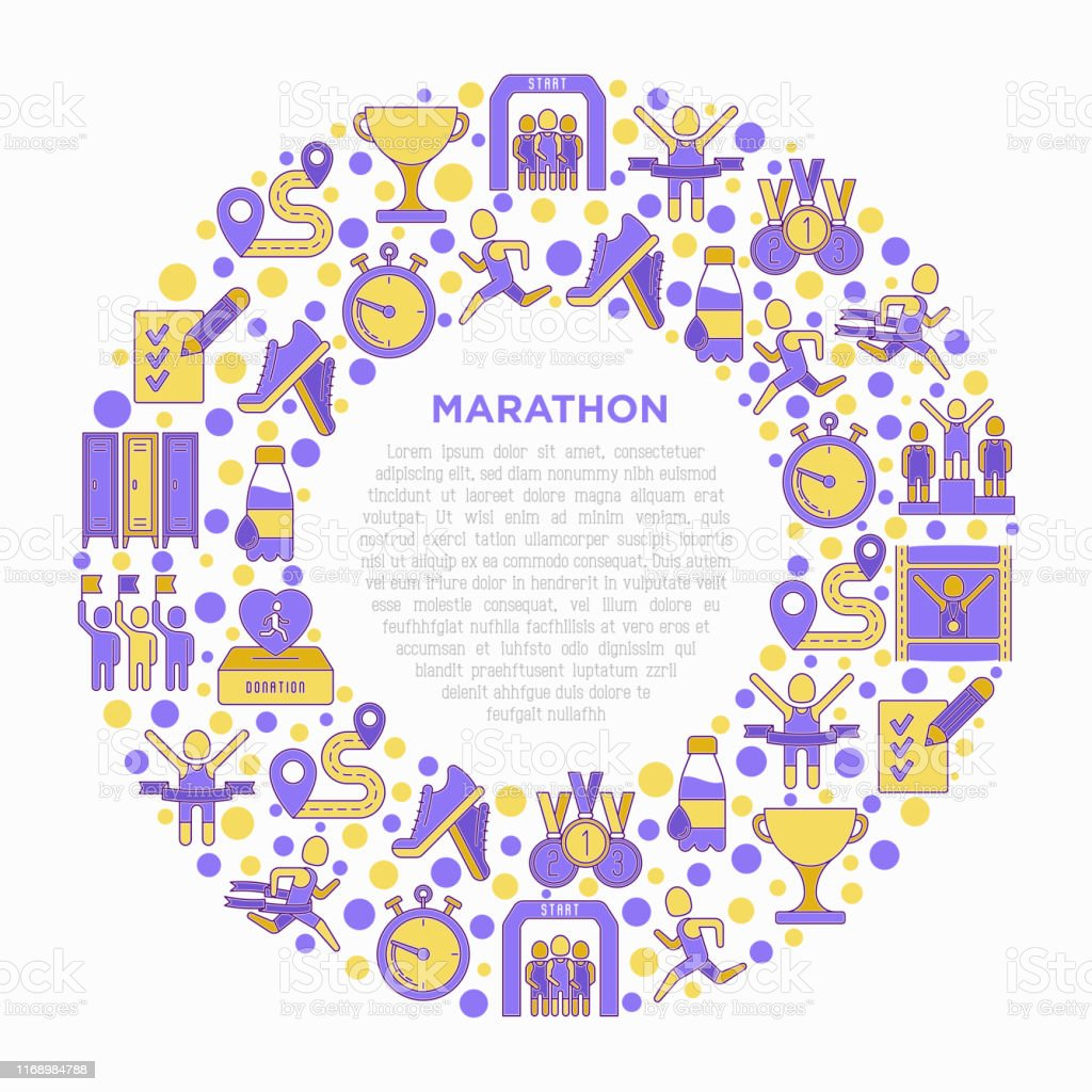 Marathon concept in circle with thin line icons: runner, start,...