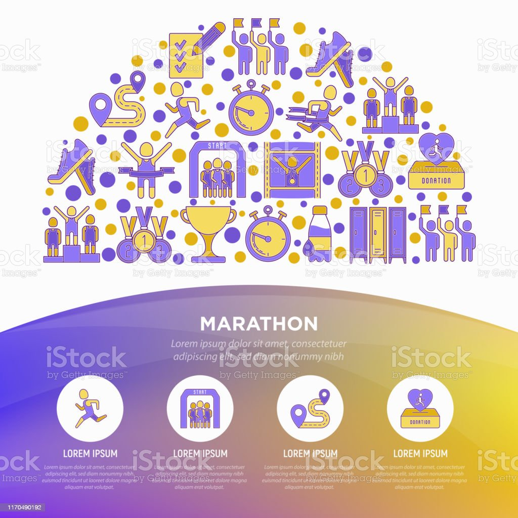 Marathon concept in half circle with thin line icons: runner, start,...