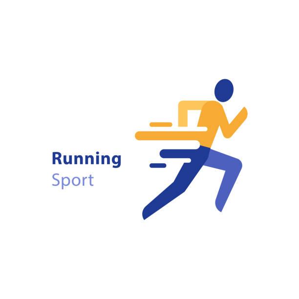 marathonveranstaltung laufen aktivitäten, abstrakte läufer, triathlon, vektor icon - langstreckenlauf stock-grafiken, -clipart, -cartoons und -symbole