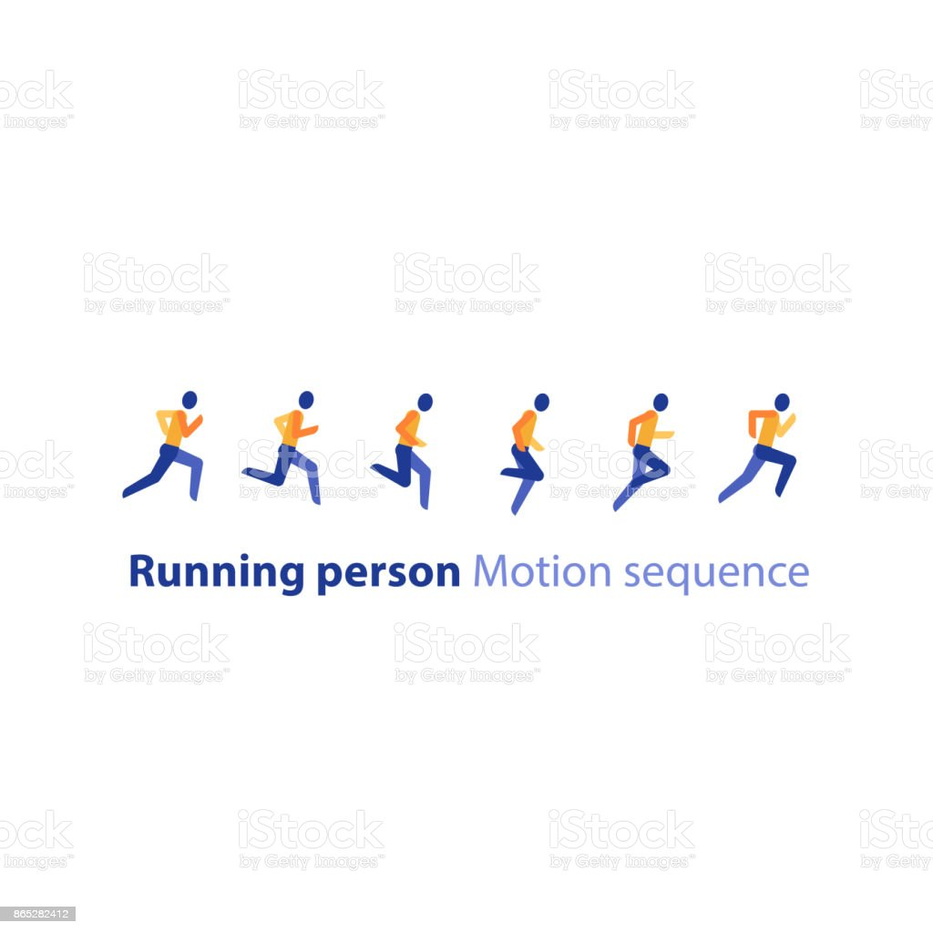 Marathon event, running sequence, runner motion steps, triathlon, vector icon vector art illustration