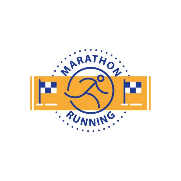 marathonveranstaltung laufen symbol, sportliche herausforderung, vektor liniensymbol - langstreckenlauf stock-grafiken, -clipart, -cartoons und -symbole