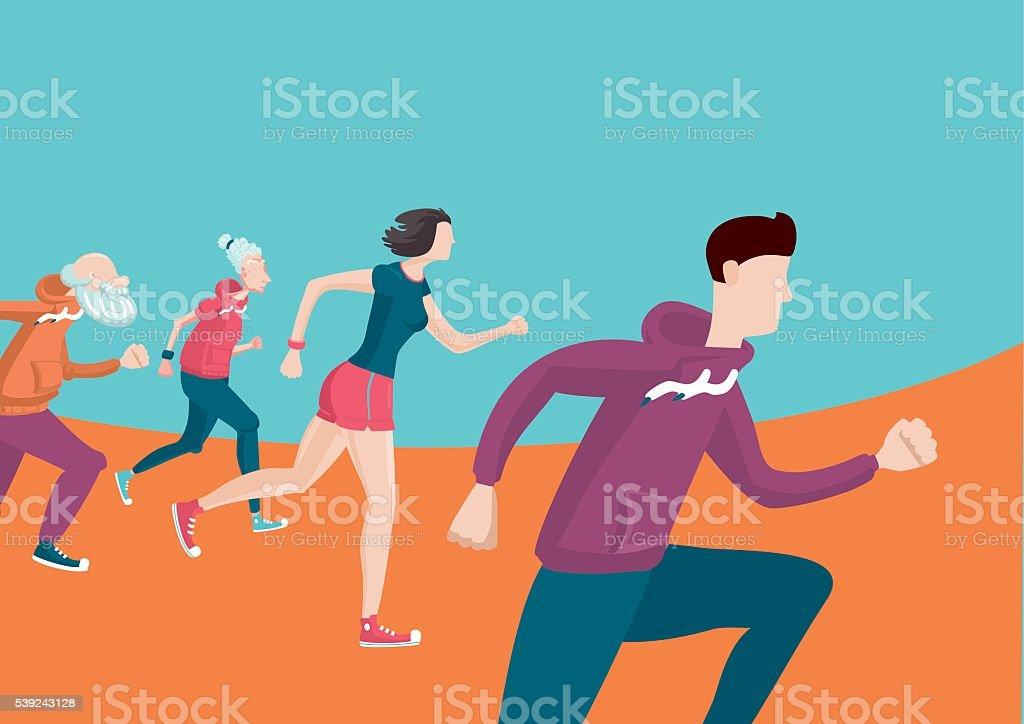 Marathon. Group of running people. Cartoon flat style royalty-free marathon group of running people cartoon flat style stock vector art & more images of adult