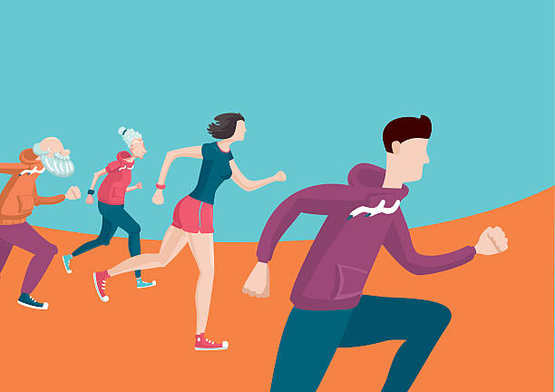marathon. group of running people. cartoon flat style - old man shoes stock illustrations, clip art, cartoons, & icons