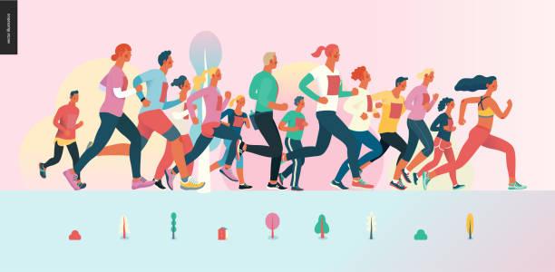 illustrations, cliparts, dessins animés et icônes de groupe de course de marathon - running