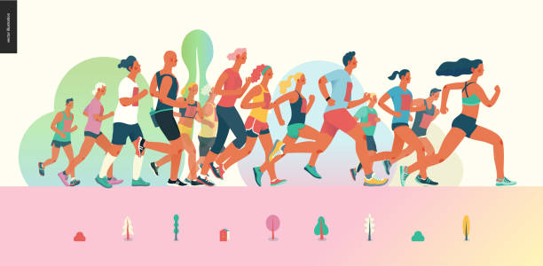 Marathon race group Marathon race group - flat modern vector concept illustration of running men and women wearing summer sportswer. Marathon race, 5k run, sprint. Creative landing page design template, web banner race distance stock illustrations